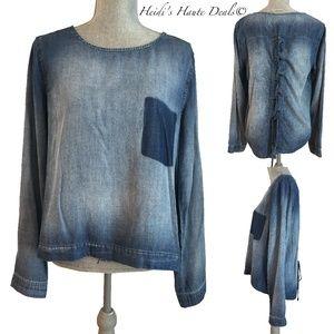 Cloth Stone Blue Tencel Laceup Back Tunic Top S  M